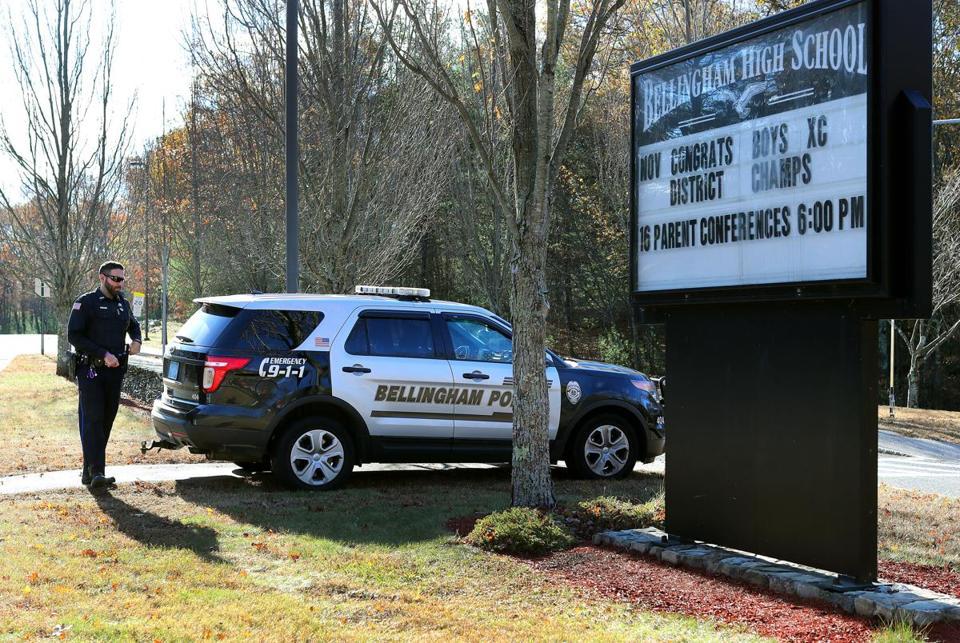 Bellingham Police were stationed at the entrance to Bellingham High School.